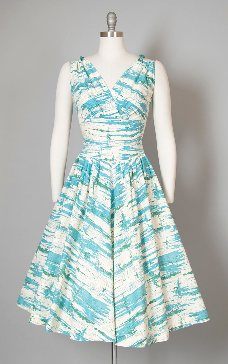 Vintage 1950s Dress | 50s Brushstroke Printed Cotton Sun Dress Blue White Sundress Full Skirt Day Dress (small)