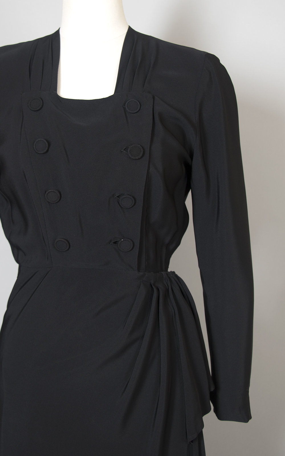Vintage 1940s Dress | 40s Black Rayon Cocktail Dress Double Breasted Draped Long Sleeve Evening Dress (small)