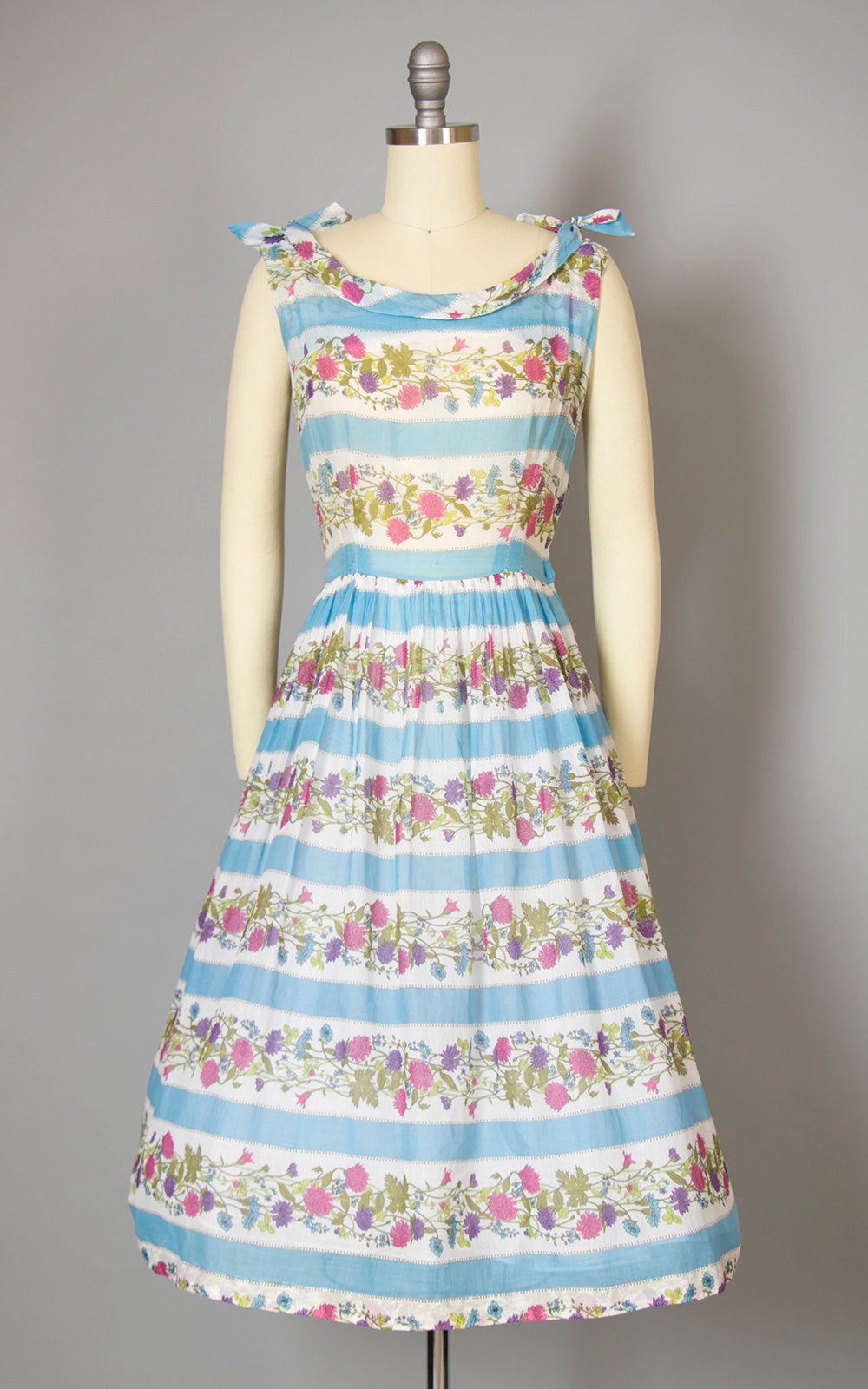 Vintage 1950s Dress | 50s Floral Cotton Voile Sundress Blue White Sun Dress Striped Full Skirt Day Dress (small)