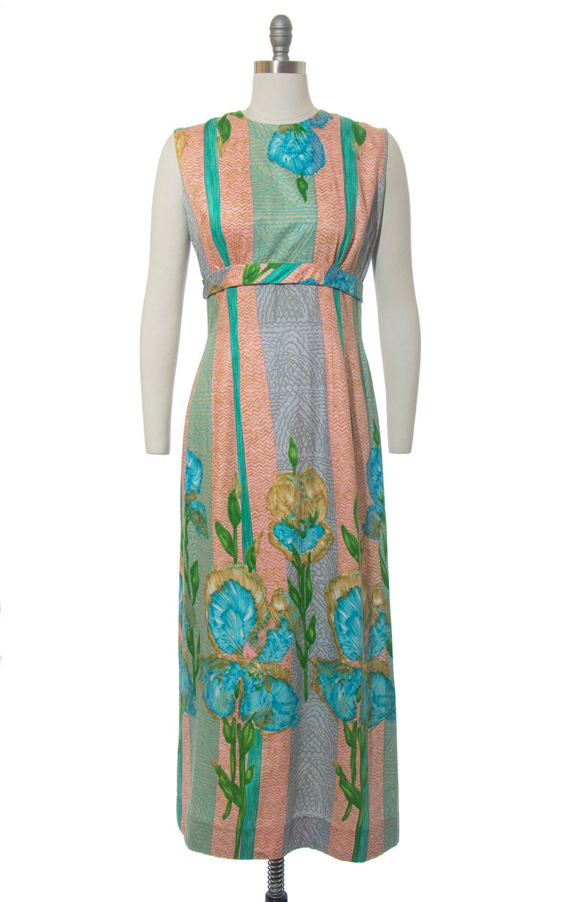 Vintage 1960s Dress | 60s Hawaiian Floral Border Print Cotton Sundress Jewel Tone Empire Waist Maxi Tiki Dress Hostess Gown (medium)