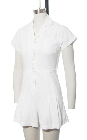 Vintage 1940s Playsuit | 40s White Cotton Romper Sportswear One Piece Gym Uniform (small)