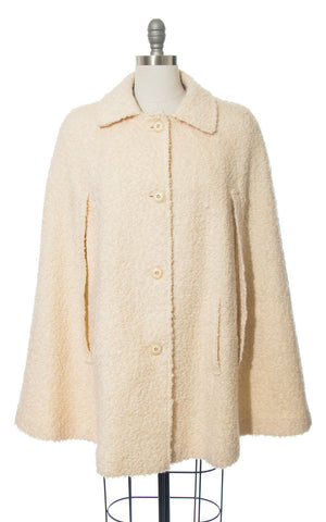 Vintage 1960s Cape | 60s Cream Bouclé Wool Coat with Pockets (small/medium)
