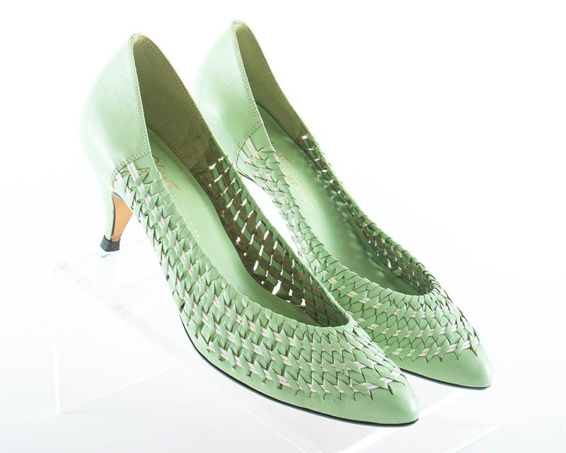 Vintage 1980s Shoes | 80s Woven Leather Mint Green High Heels (size 10)