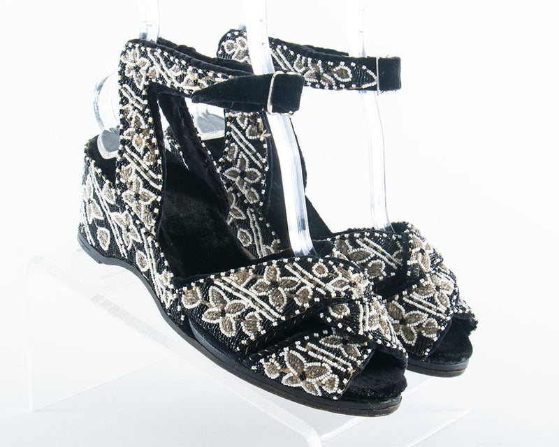 RARE Vintage 1940s Shoes | 40s Beaded Velvet Wedge Heels White Black Peep Toe Ankle Strap Sandals (US 8)