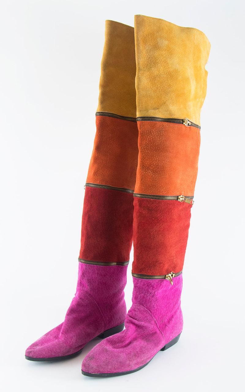 Vintage 1980s Boots | 80s Rainbow Striped Suede Zippers Over The Knee High Almond Toes Boots (size US 7/7.5)