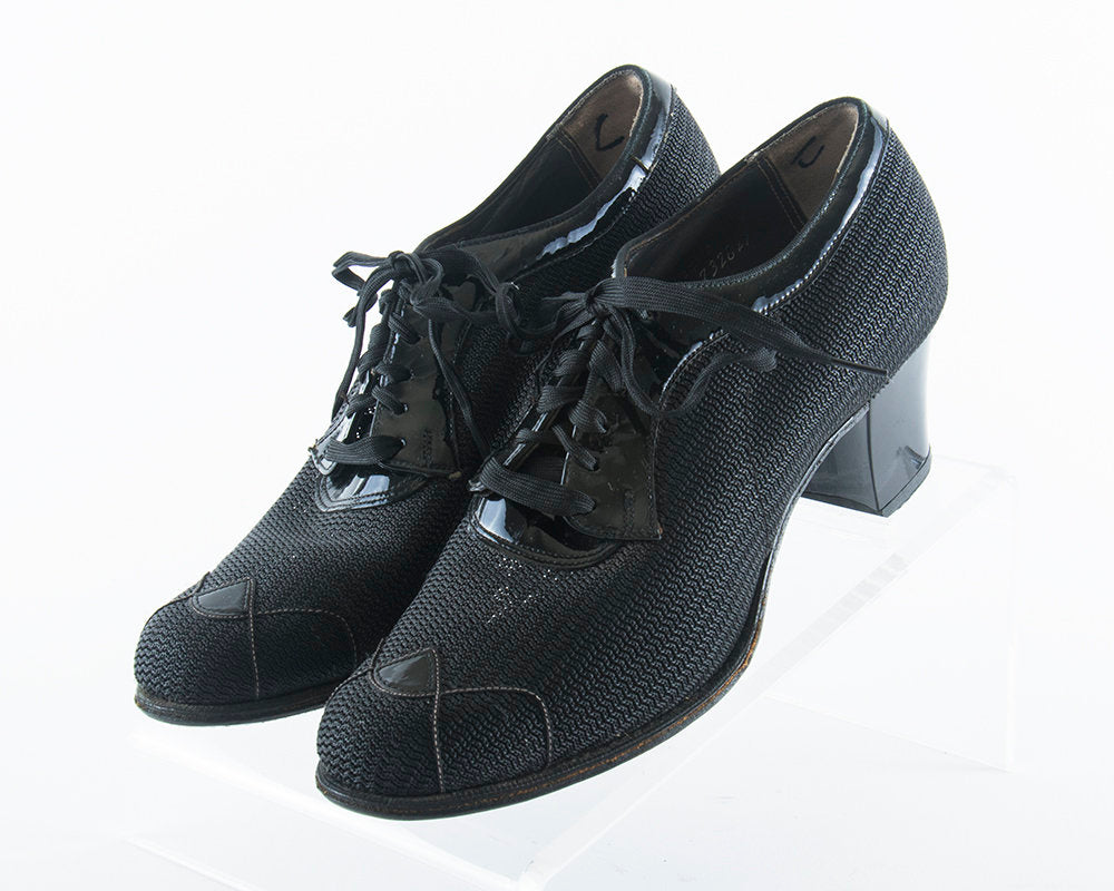 Vintage 1940s Shoes | 40s Black Sheer Mesh Patent Leather Lace Up Oxford Heels (US 6)