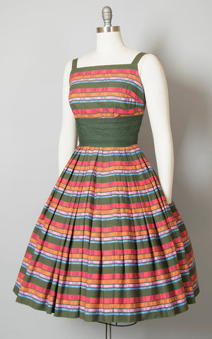 Vintage 1950s Dress | 50s Rainbow Striped Cotton Sundress Pintuck Pleated Full Skirt Day Dress (small)