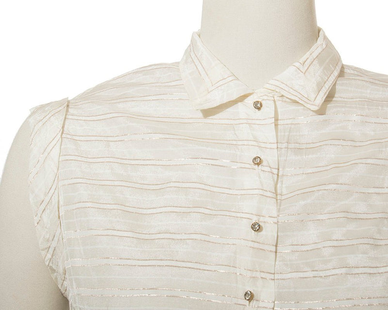 Vintage 1950s Blouse | 50s Metallic Gold Lurex Striped Cream Nylon Rhinestone Buttons Collared Holiday Party Top (medium)