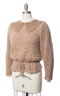 Vintage 1970s Sweater | 70s Tan Open Knit Faux Pearl Beaded Collar Pullover Sweater Top (medium/large)