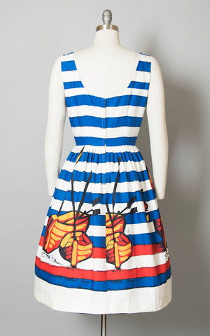 Vintage 1950s Dress | 50s DEADSTOCK Sailboat Boat Novelty Border Print Striped Cotton Sundress Blue Nautical Sailor Day Dress (medium)