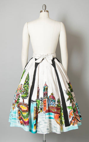 Vintage 1950s Circle Skirt | 50s Mexican Novelty Print Cotton Hand Painted Scenic Panel Souvenir Skirt (medium)