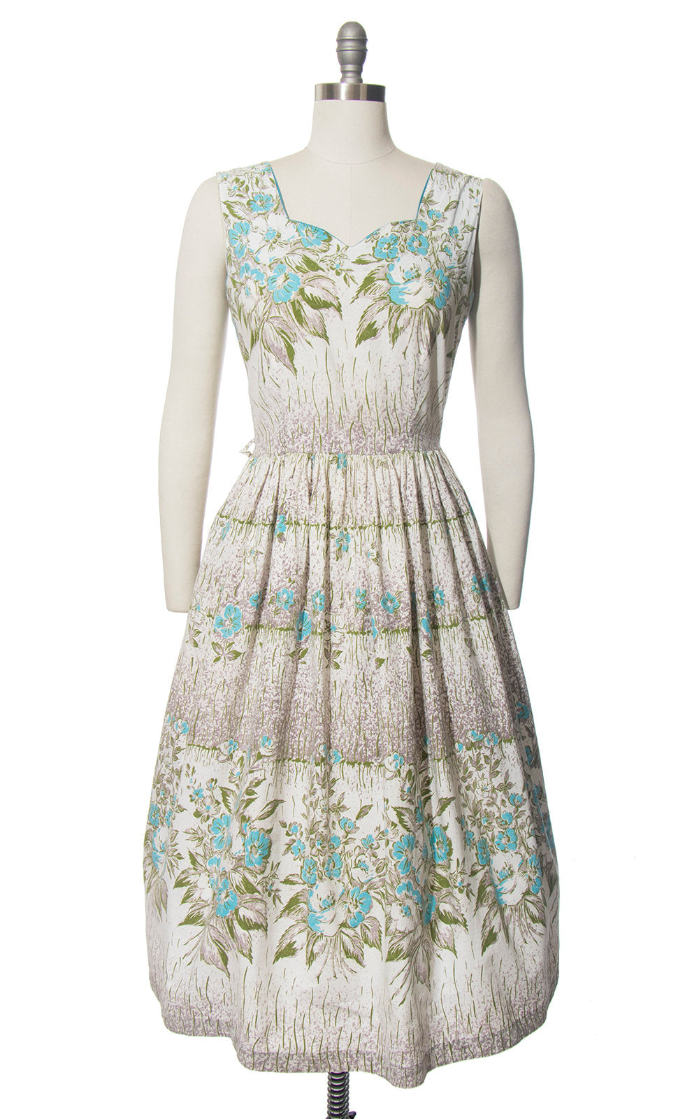 Vintage 1940s 1950s Dress | 40s 50s Floral Border Print Cotton Sundress Blue White Full Skirt Day Dress with Pocket (small)