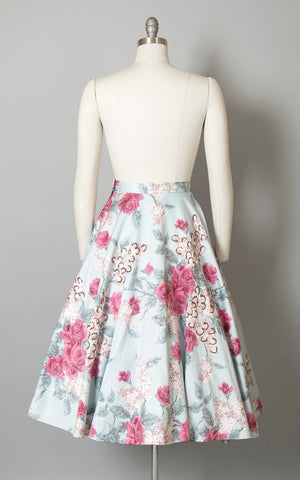 Vintage 1950s Circle Skirt | 50s Rose Floral Print Cotton Glitter Pink Blue Swing Skirt w/ Petticoat (medium)