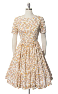 Vintage 1950s 1960s Dress | 50s 60s Novelty Print Cake Butterfly Cotton Cream Full Skirt Day Dress (small)