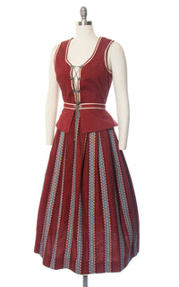 Vintage 1950s Dirndl Dress | 50s Striped Cotton Sundress Burgundy Lace Up Traditional Oktoberfest Dirndl w/ Attachable Peplum (small)