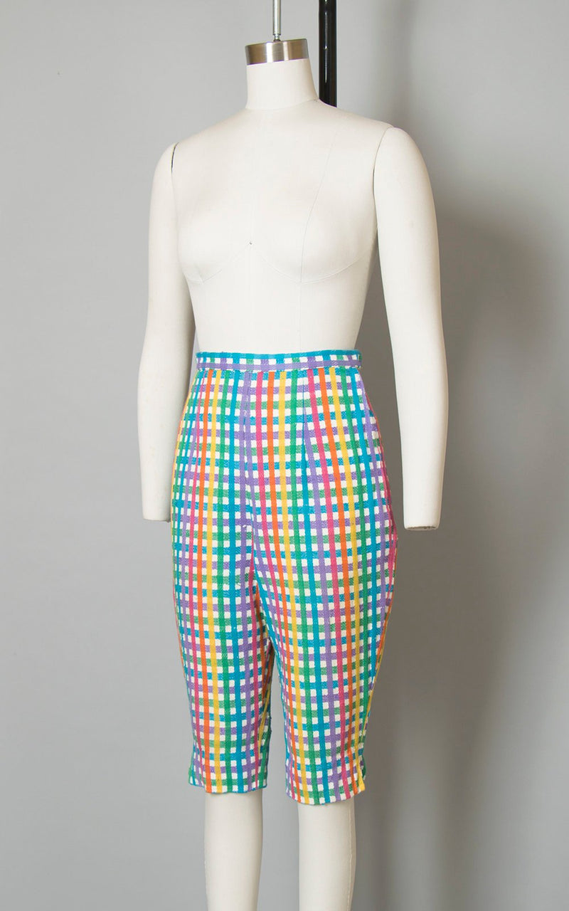 Vintage 1950s Capri Pants | 50s Rainbow Checkered Woven Cotton High Waisted Cropped Pedal Pushers (xs/small)
