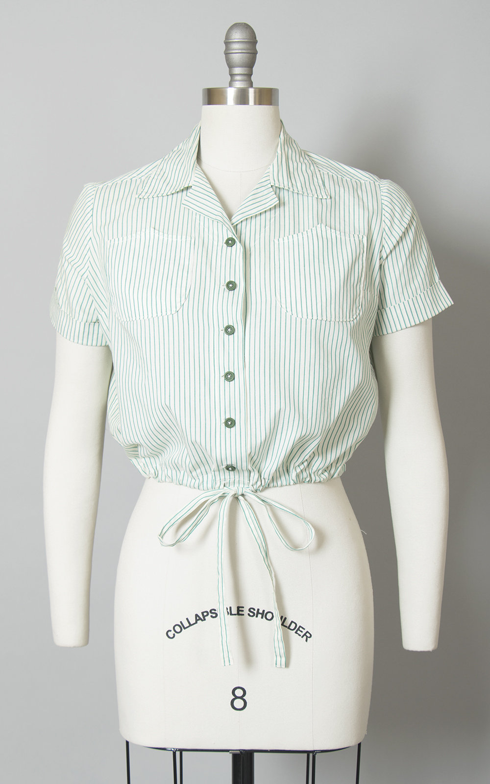 Vintage 1950s 1960s Blouse | 50s 60s Green Striped Cotton Drawstring Button Up Crop Top (medium)