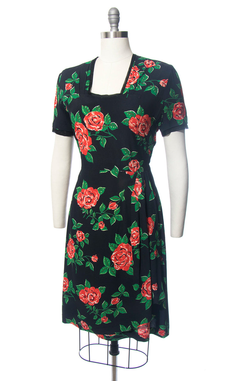 Vintage 1940s Dress | 40s Rose Floral Print Rayon Crepe Black Red Draped Wiggle Cocktail Dress (medium)