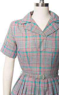 Vintage 1950s Dress | 50s Plaid Tartan Cotton Red Teal Full Skirt Day Dress w/ Belt (medium)