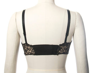 Vintage 1950s Bullet Bra | 50s Sheer Black Lace Full Coverage Bra Without Underwire (32C)