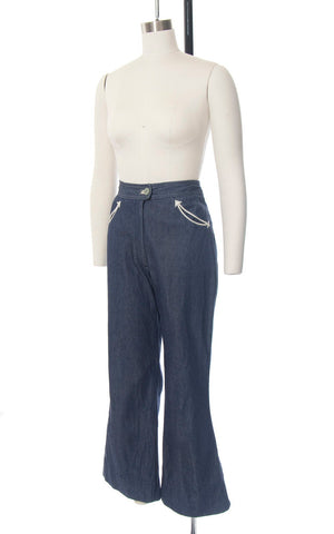Vintage 1970s Jeans | 70s MS PIONEER Western Bell Bottoms Blue Denim High Waisted Arrow Pockets Flared Pants (medium)