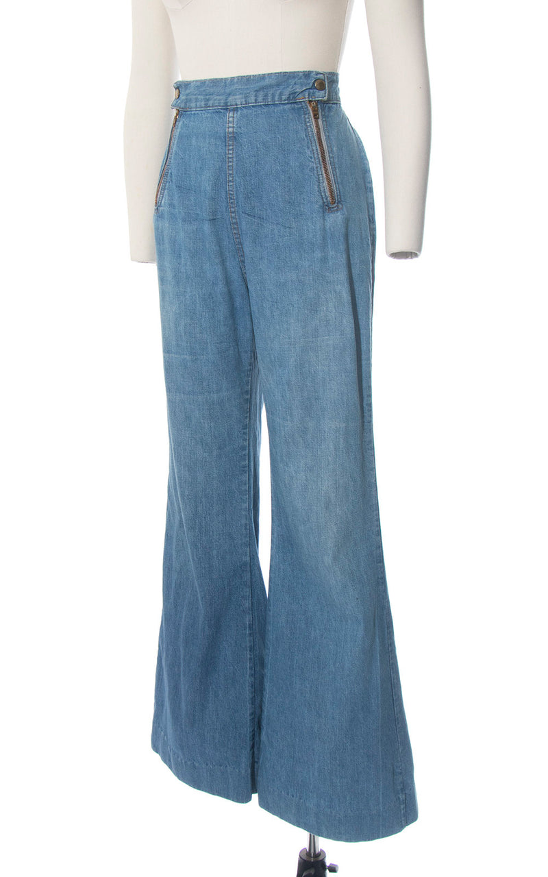 Vintage 1970s Bell Bottoms | 70s Double Zippered Light Blue Wash Denim Jeans High Waisted Distressed Flared Pants (medium)