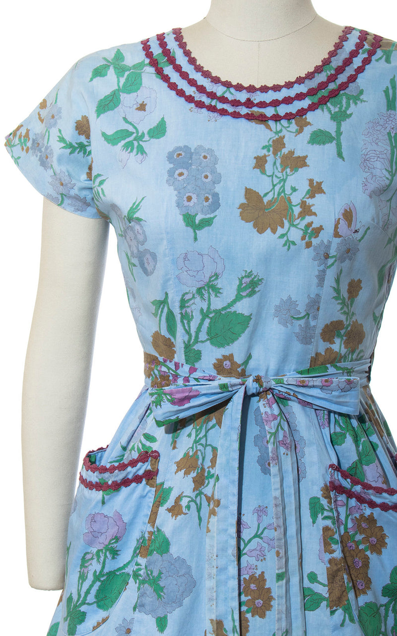 Vintage 1950s Dress | 50s SWIRL Wrap Dress Floral Butterfly Print Cotton Blue Full Skirt Day Dress with Pockets (small/medium)