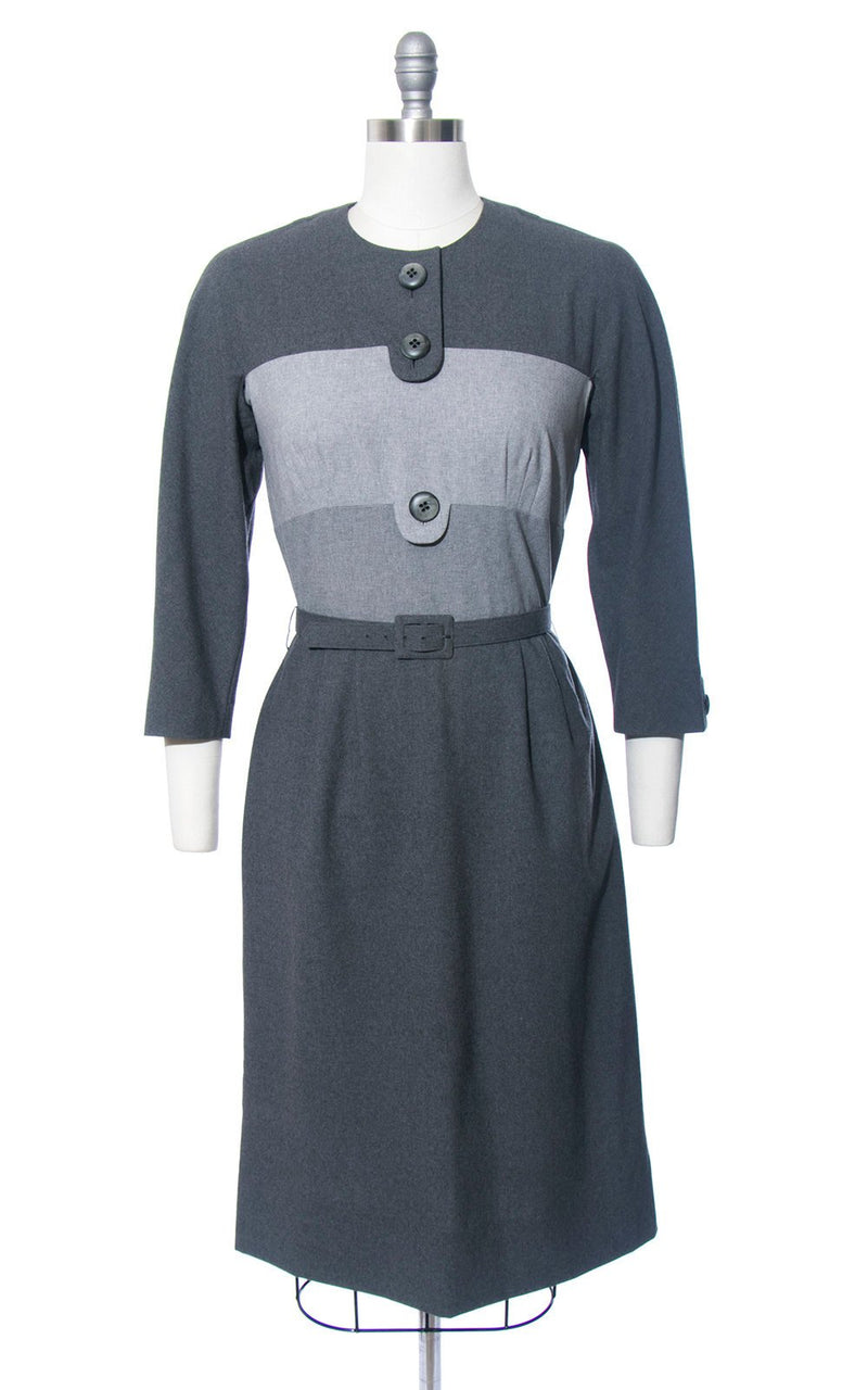 Vintage 1960s Dress | 60s Grey Wool Color Block Wiggle Dress Blade Runner Rachel Striped Day Dress (medium)