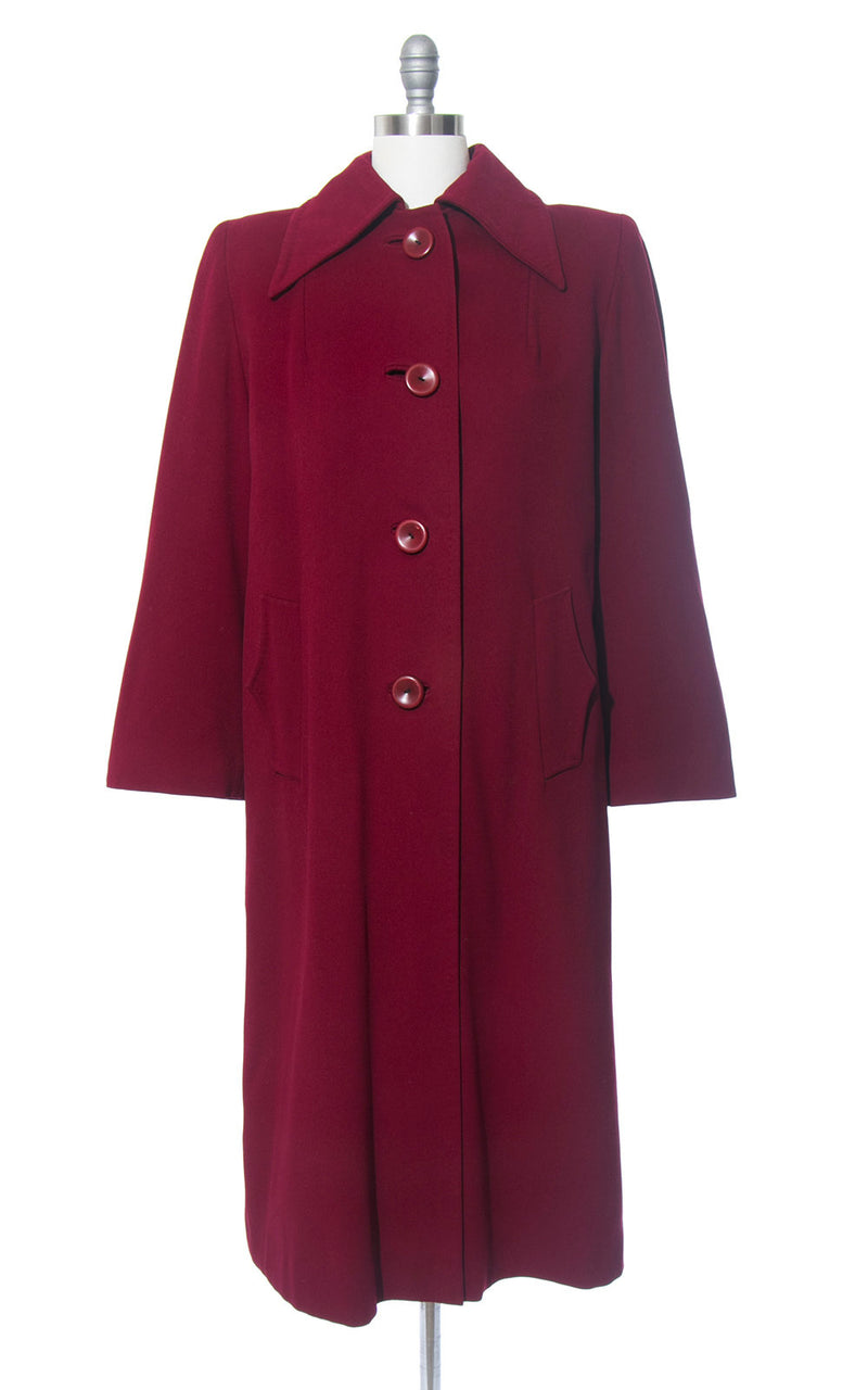 Vintage 1940s Coat | 40s Burgundy Wool Twill Coat Removable Wool Liner Long Warm Winter Coat (medium/large)