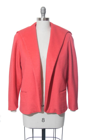 Vintage 1960s Swing Coat | 60s Hot Pink Salmon Wool Short Shawl Collar Jacket (medium)