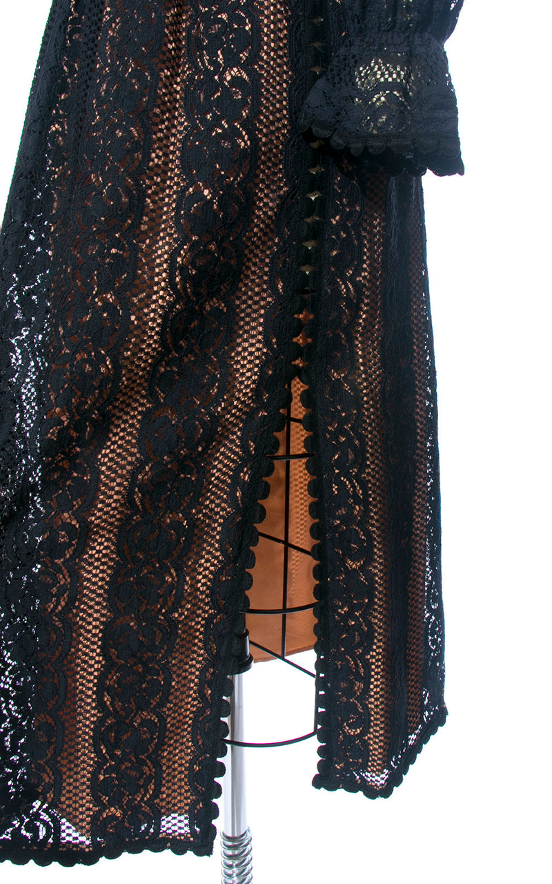 Vintage 1960s Dress | 60s Black Lace Nude Illusion Ruffled Long Sleeve Witchy Party Dress (small)