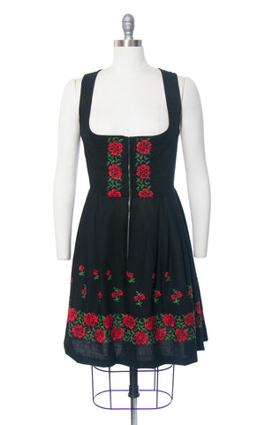 Vintage 1960s Dirndl Dress | 60s Floral Embroidered Border Print Cotton Sundress Black Red Full Skirt Oktoberfest Dirndl (medium)