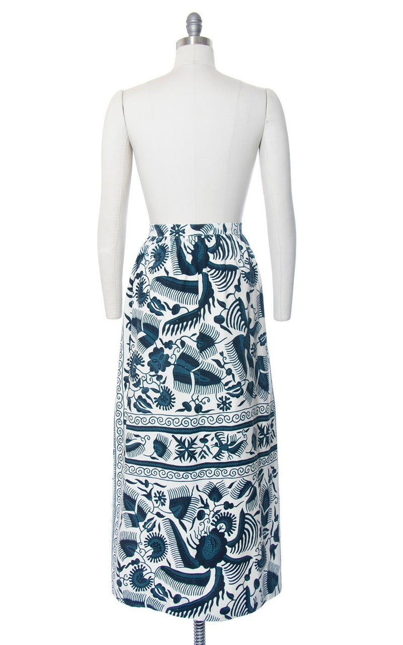 Vintage 1970s Skirt | 70s Floral Bird Batik Print Cotton Button Up Blue Cream Belted High Waisted Boho Maxi Skirt (medium)