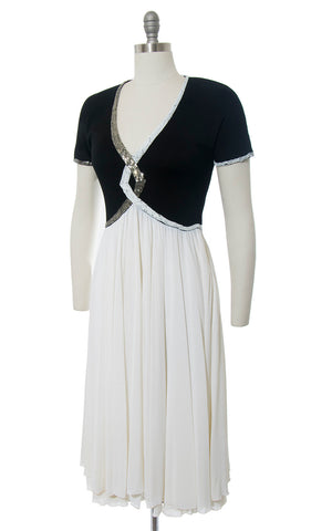 Vintage 1940s Style Dress | Beaded Jersey Knit Evening Gown Color Block Black White Party Dress (medium)