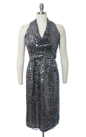 Vintage 1970s Dress | 70s Sequin Halter Sparkly Silver Cowl Halter Neck Wiggle Party Dress (small)