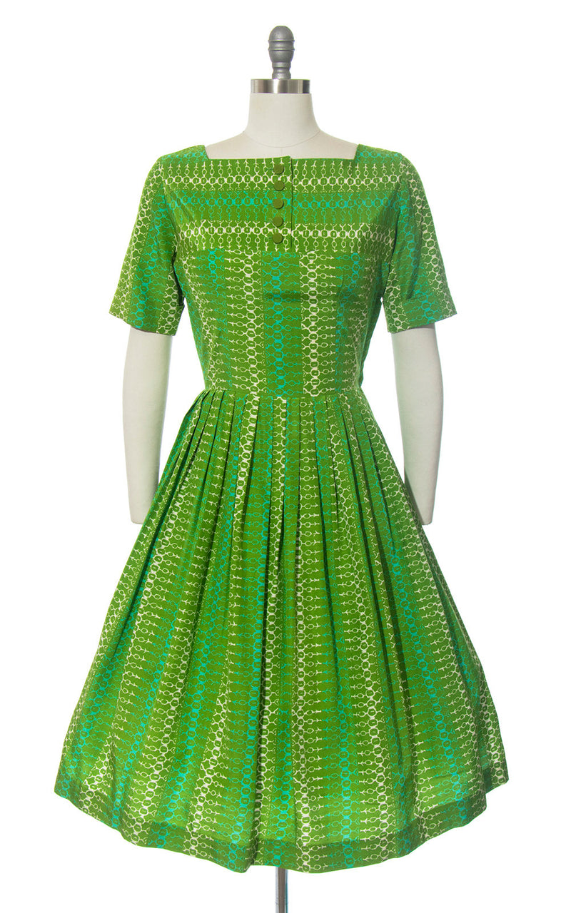 Vintage 1950s | 50s Striped Printed Green Turquoise Rayon Cotton Full Skirt Day Dress (medium)