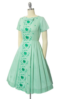 Vintage 1950s Dress | 50s Rose Floral Embroidered Mint Green Cotton Full Skirt Day Dress (xs/small)