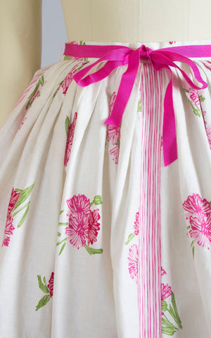 Vintage 1950s Skirt | 50s Floral Striped Printed Cotton White Pink Full Swing Skirt (xs/small)