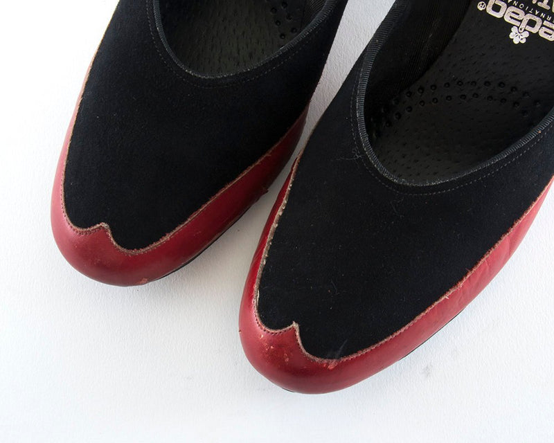 Vintage 1940s Shoes | 40s Spectator Heels Black Suede Red Leather Pumps (size US 8)