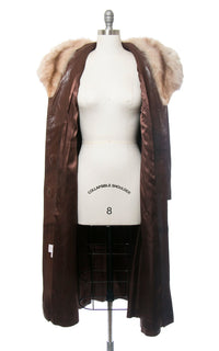 Vintage 1970s Coat | 70s Fox Fur Collar Buttery Brown Leather Belted Princess Coat (medium)