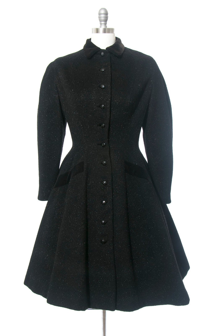 Vintage 1950s Princess Coat | 50s LILLI ANN Black Wool Mohair Velvet Trim Wasp Waist New Look Full Skirt Warm Winter Coat (medium)