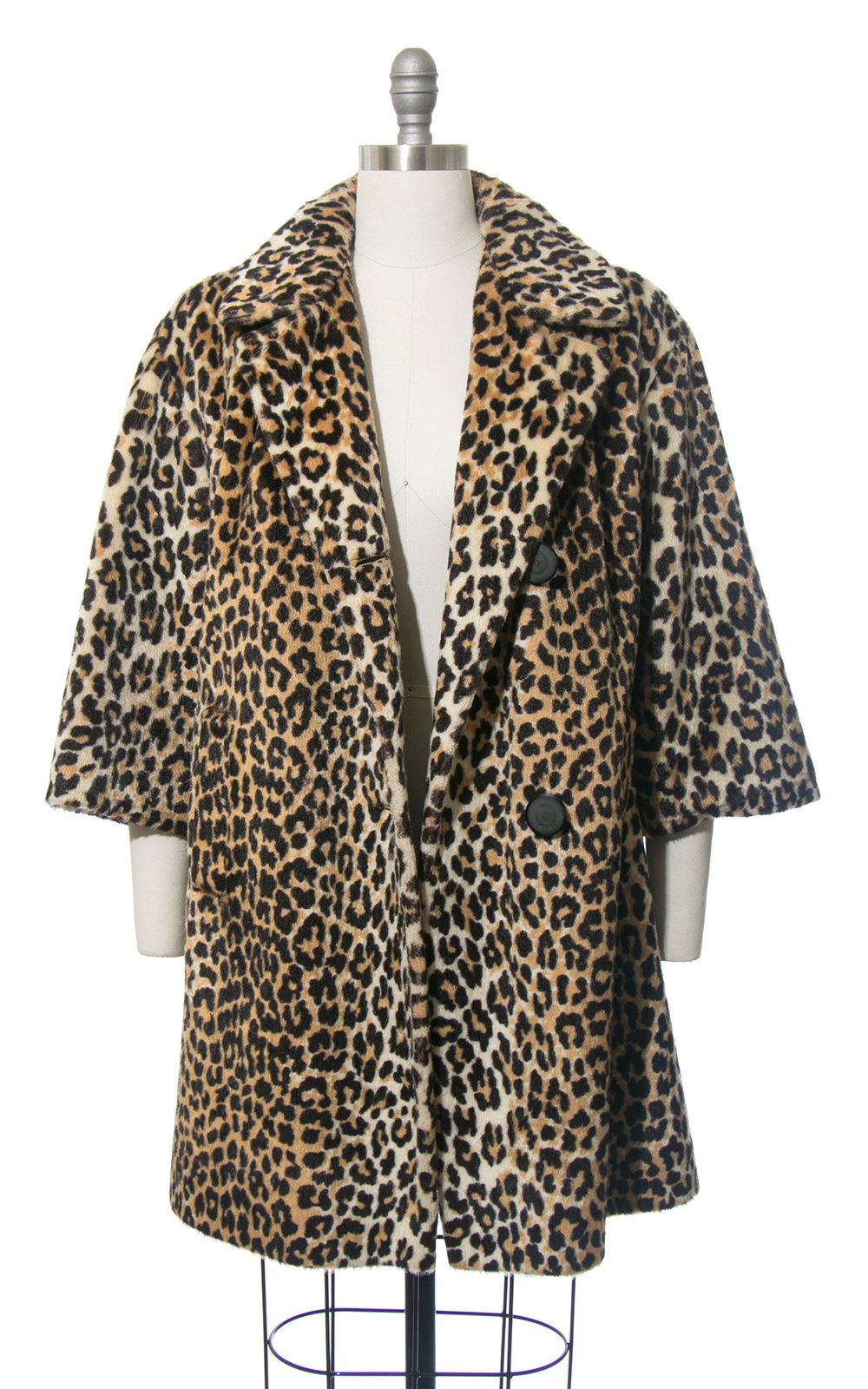 Vintage 1960s Coat | 60s Leopard Print Faux Fur Plush Animal Print Winter Swing Coat (medium/large)
