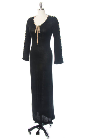 Vintage 1970s Sweater Dress | 70s Black Knit Rayon Acrylic Laced Up Long Sleeve Witchy Maxi Dress (small/medium)