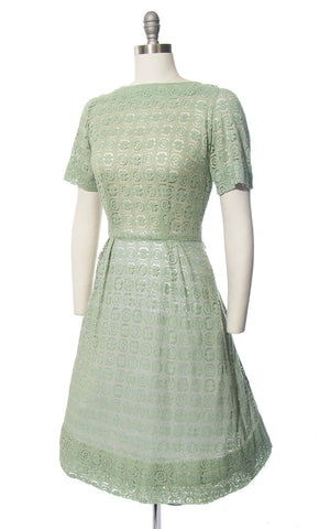 Vintage 1950s Dress | 50s Sage Green Lace Sheer Full Skirt Day Dress (medium)