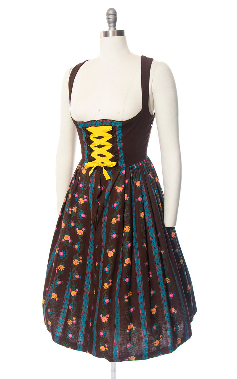 Vintage 1970s Dirndl Dress | 70s Floral Striped Cotton Sundress Brown Traditional Austrian Oktoberfest Dirndl (medium)