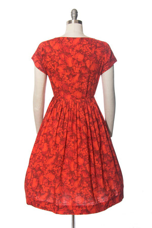 Vintage 1950s Dress | 50s MODE O' DAY Fruit Novelty Print Cotton Shirtwaist Red Full Skirt Day Dress (medium)