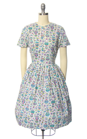 Vintage 1950s Dress | 50s MODE O' DAY Novelty Print Cotton Hot Air Balloon Rose Floral White Full Skirt Day Dress (small/medium)