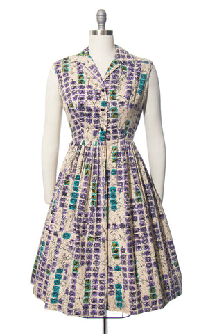 Vintage 1950s Dress | 50s MODE O' DAY Floral Batik Printed Cotton Sundress Shirtwaist Sleeveless Day Dress (medium)