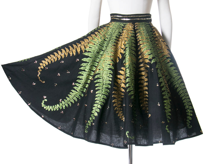Vintage 1950s Circle Skirt Black and White Novelty Print with Sequins Mexico Small 26\u201d waist