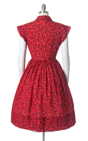 Vintage 1950s Dress | 50s Red Leopard Print Nylon Shirt Dress Animal Print Rhinestone Buttons Full Skirt Shirtwaist Day Dress (small/medium)